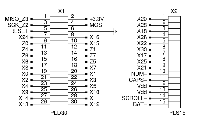 2 connectors with signal names