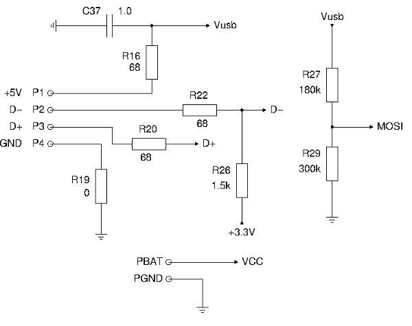 Resistor network for USB lines